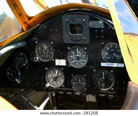 Aircraft Instrument Panel - stock photo