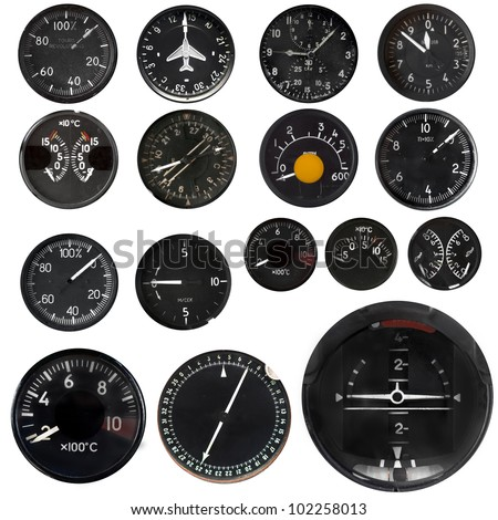 Aircraft instruments isolated on white background, set - stock photo