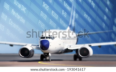 Aircraft on runway  - stock photo