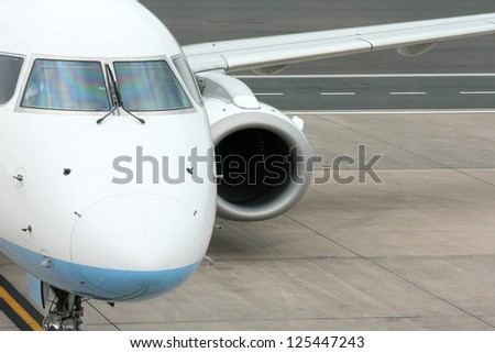 Aircraft on the tarmac at the Airport - stock photo