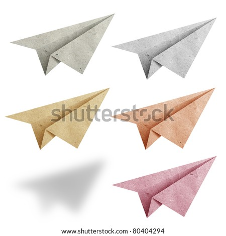 aircraft  recycled paper on white background - stock photo