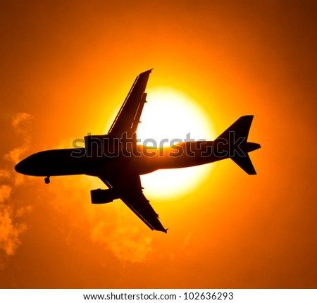 Aircraft Sunset - stock photo