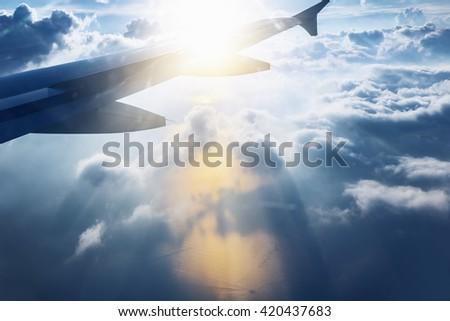 Aircraft wing - stock photo