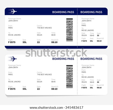 Airline boarding pass ticket for traveling by plane. - stock photo