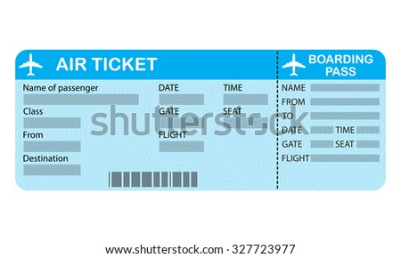 Airline boarding pass ticket on white background. Detailed blank of airplane ticket. - stock photo
