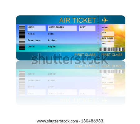 airline boarding pass ticket with shadow isolated over white background - stock photo