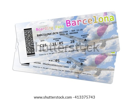 Airline boarding pass tickets to Barcelona (Spain) isolated on white - The contents of the image are totally invented. - stock photo