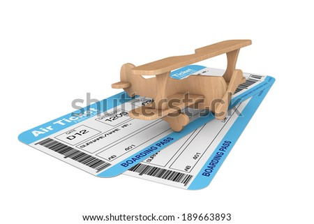 Airline boarding pass tickets with Toy Airplane on a white background - stock photo