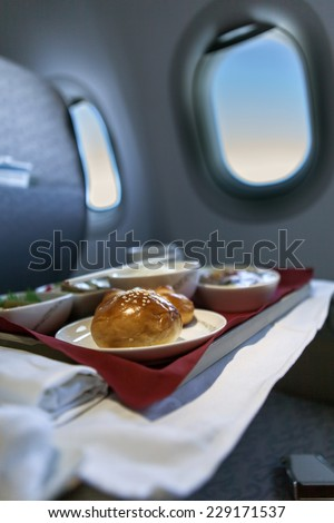 airline meal - stock photo
