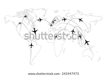 Airline routes on map black and white infographic - stock photo