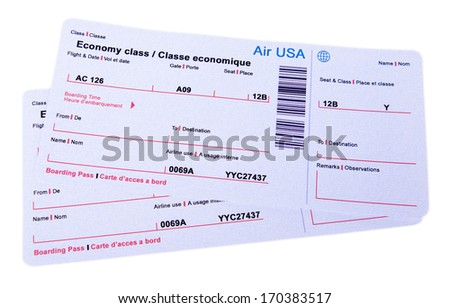 Airline tickets isolated on white - stock photo