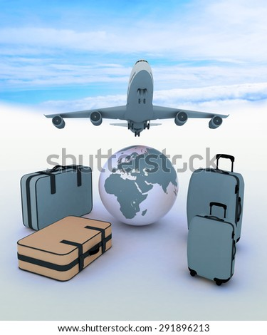 Airliner and suitcases on sky background - stock photo