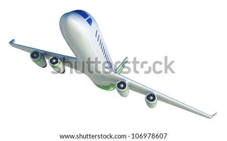 airliner jet, 3d render - stock photo