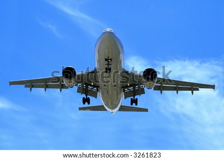 Airliner Makes its Landing Approach. - stock photo
