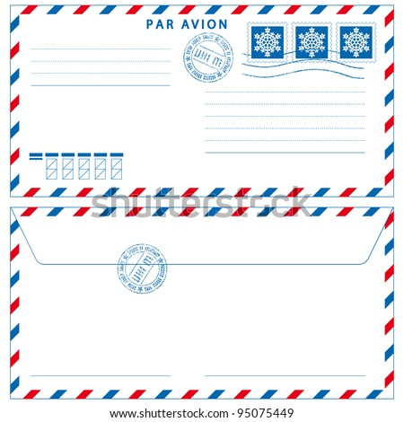 Airmail envelope with stamps on white - stock photo
