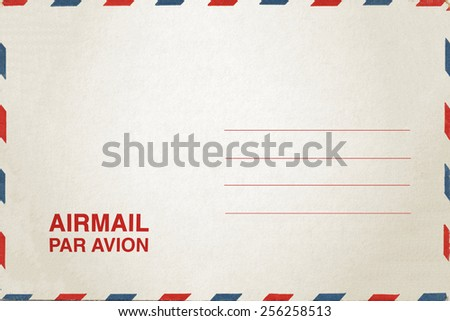 Airmail postcard isolate on white background - stock photo