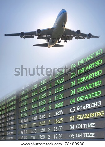 Airplane and flight schedule - stock photo