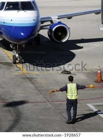 Airplane Arriving - stock photo