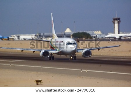 Airplane before taking off in Hurgada airport, Egypt - stock photo