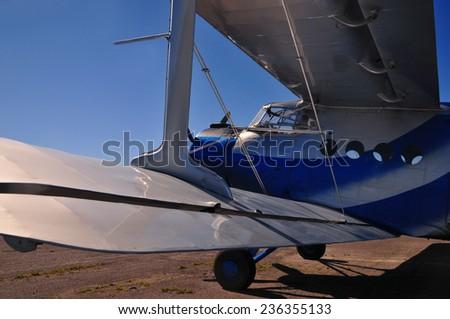 Airplane biplane  - stock photo
