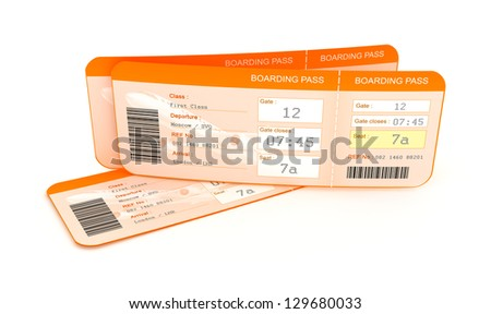 Airplane boarding pass tickets. - stock photo