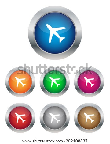 Airplane buttons. Vector available. - stock photo