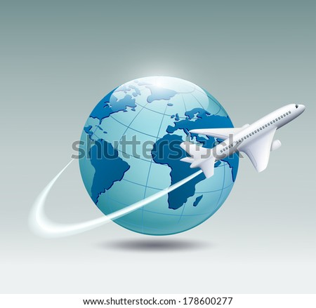 Airplane circling the globe and flying out  - stock photo