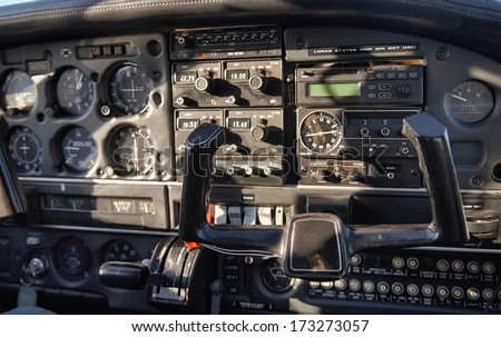 Airplane control panel view - stock photo