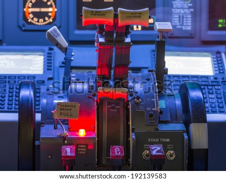 airplane controls and shift close up - stock photo