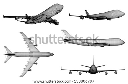 airplane. 3D model of jet airplane isolated on  white background - stock photo
