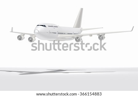 Airplane 3d rendering on a background sky. - stock photo