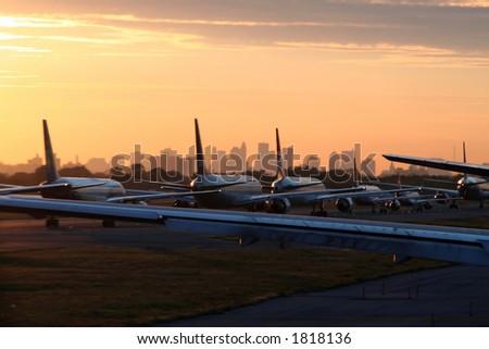 airplane departing from New York JFK Airport - stock photo