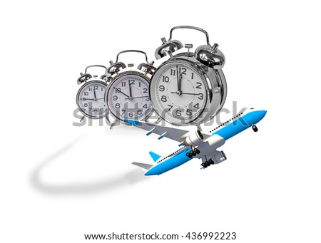 airplane, flight time, schedule, accurate, clocks, 3d rendering - stock photo