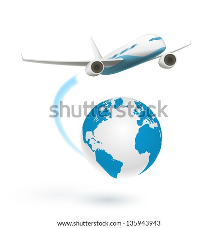 Airplane flying around the globe isolated on white background. See also vector version - stock photo