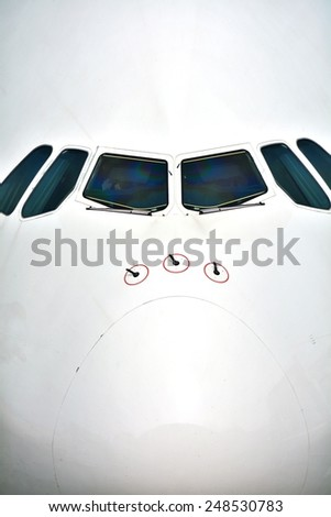 Airplane front closeup - stock photo