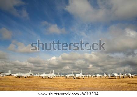 Airplane graveyard in Tucson, Arizona - stock photo