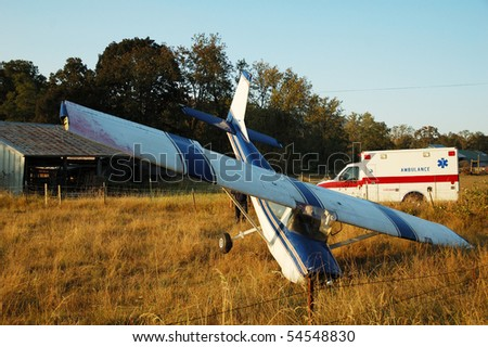 Airplane had a forced landing in a field, out of fuel, no injury, Roberts Creek Rd. Roseburg, OR - stock photo