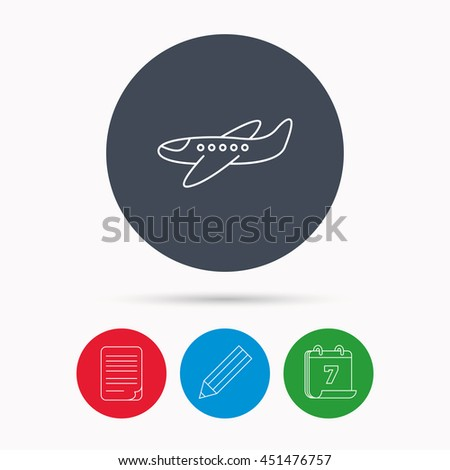 Airplane icon. Aircraft travel sign. Flight transport symbol. Calendar, pencil or edit and document file signs.  - stock photo