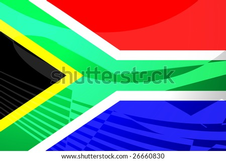 Airplane image superimposed over Flag of South Africa, national country symbol illustration indicating commercial air travel - stock photo