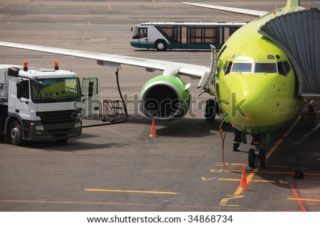 airplane in airport - stock photo
