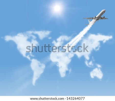 airplane is flying through the world map shaped clouds - stock photo