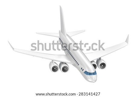 Airplane isolated on blue. My Own Design - stock photo