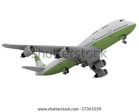 Airplane isolated on white background - stock photo
