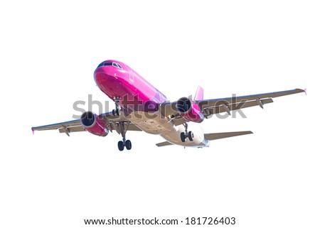 Airplane isolated over white background - stock photo