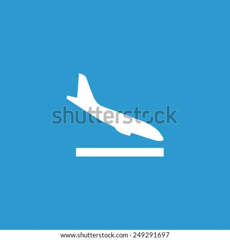 airplane landing icon, isolated, white on the blue background. Exclusive Symbols  - stock photo