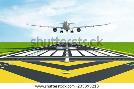 Airplane Landing on Airport Runway. Passenger Airliner of My Own Design - stock photo
