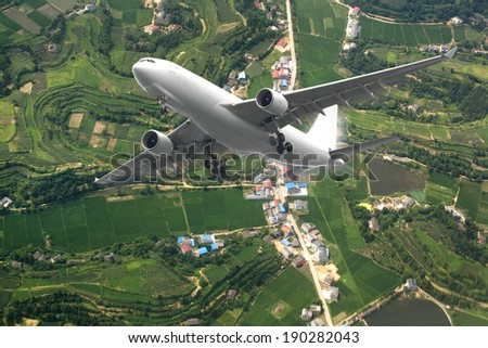 airplane lifted from the airport - stock photo