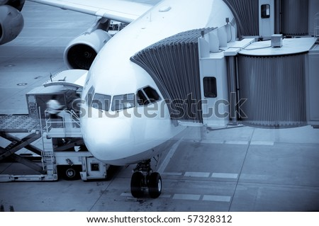Airplane Loading At The Airport And Loading Cargo - stock photo
