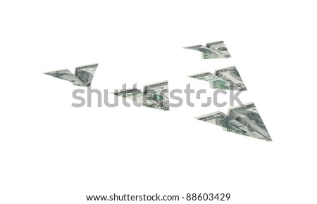 Airplane made of dollars.Isolated on white background.3d rendered. - stock photo
