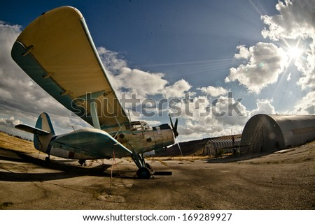 airplane on green grass - stock photo